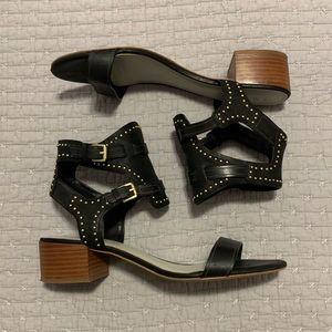 Black Leather Studded Gladiator Heel Sandals